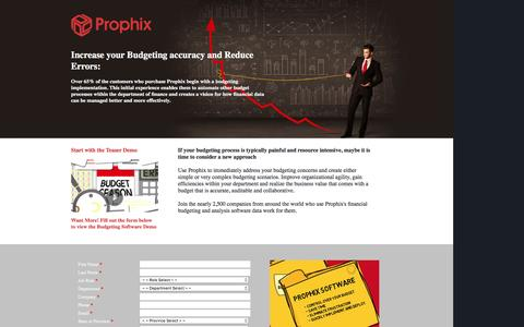 Screenshot of Landing Page prophix.com - Increase your Budgeting accuracy and Reduce Errors - captured Feb. 22, 2016