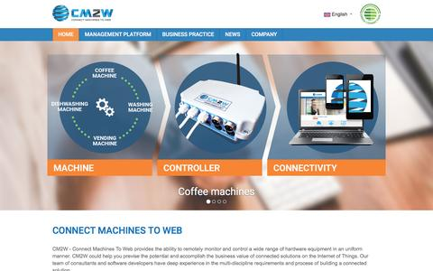 Screenshot of Home Page cm2w.net - Connect Machines To Web - CM2W remotely monitor and control a wide range of hardware equipment - captured May 11, 2017