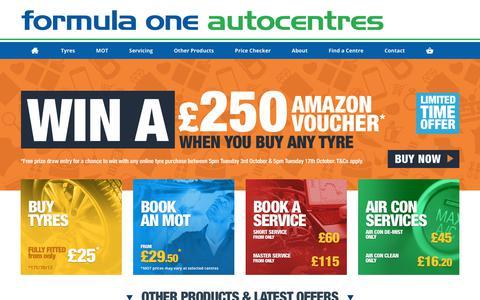 Screenshot of Home Page f1autocentres.co.uk - Car Tyres | Car Service | Book MOT | MOT Test Centres | Car Batteries | Cheap Car Tyres | Exhausts | F1 Autocentres - captured Oct. 14, 2017