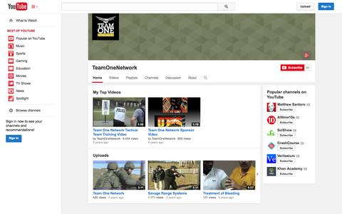 Screenshot of YouTube Page youtube.com - TeamOneNetwork  - YouTube - captured Oct. 26, 2014