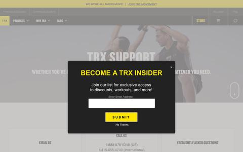 Screenshot of Support Page trxtraining.com - TRX Customer Support | TRX Suspension Training - captured April 17, 2019