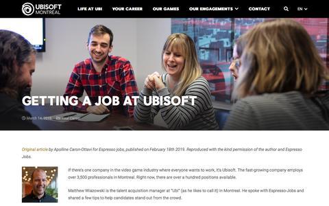 Screenshot of Jobs Page ubisoft.com - Getting a job at Ubisoft - Ubisoft Montréal - captured Nov. 8, 2019