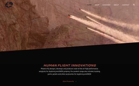 Screenshot of Home Page phoenix-fly.com - Phoenix-Fly – Human Flight Innovation - captured May 17, 2017