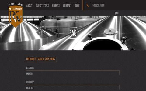 Screenshot of FAQ Page portlandkettle.com - Portland Kettle Works |   Faq - captured Oct. 28, 2014