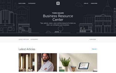 Screenshot of Blog squareup.com - Business Resource Center | Town Square - captured Jan. 26, 2017