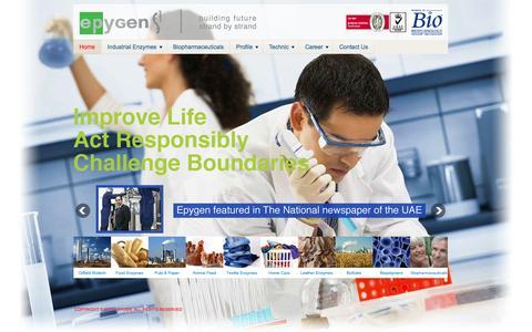 Screenshot of Home Page epygen.com - Epygen - captured Oct. 8, 2014