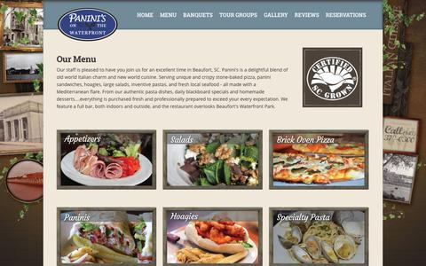 Screenshot of Menu Page paninisonthewaterfront.com - Our Menu » Panini's on the Waterfront Restaurant - captured March 11, 2016