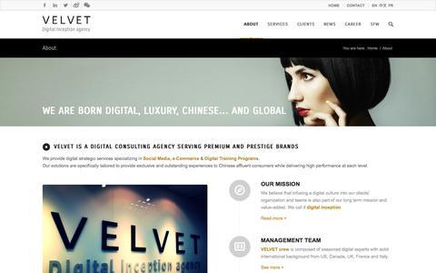 Screenshot of About Page velvetgroup.com - Velvet | Agency - VELVET - captured Oct. 7, 2014