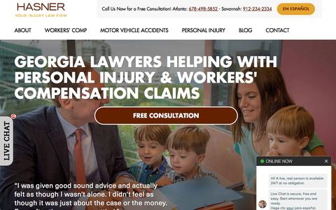Screenshot of Home Page hasnerlaw.com - Georgia Personal Injury Lawyer Near You in | 5-Star Reviewed - captured Sept. 21, 2019