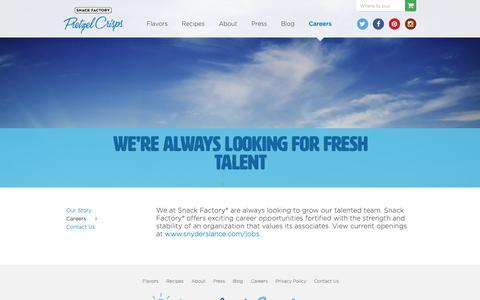 Screenshot of Jobs Page pretzelcrisps.com - Careers - Pretzel Crisps® - captured Nov. 16, 2018