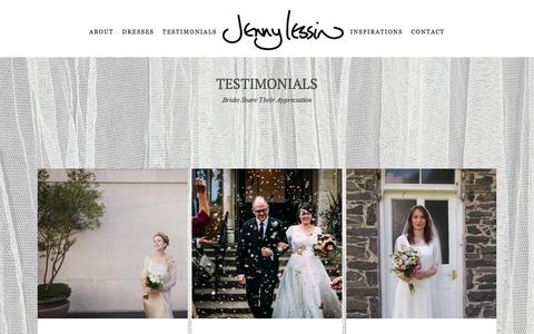 Screenshot of Testimonials Page jennylessin.com - Personal testimonials shared by real brides | Jenny Lessin - captured July 9, 2018