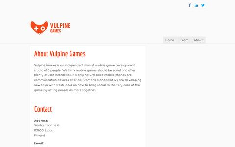 Screenshot of About Page vulpinegames.com - About - captured Oct. 7, 2014
