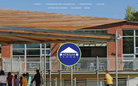 Screenshot of Home Page atrium.org - Atrium School - captured Jan. 23, 2015