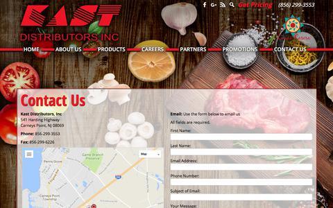 Screenshot of Contact Page kastdistributors.com - Contact Us | Kast Distributors - captured Oct. 16, 2017