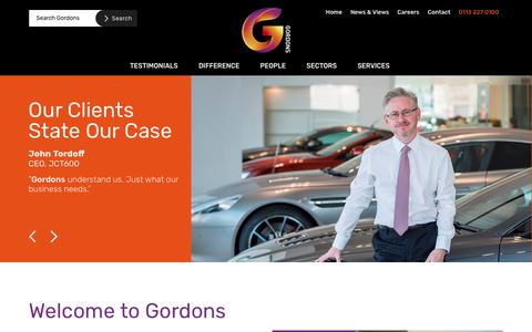 Screenshot of Home Page gordonsllp.com - Gordons law firm | Solicitors in Leeds and Bradford - captured July 21, 2018