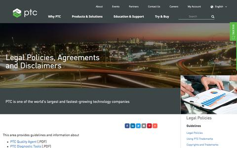 Screenshot of Terms Page ptc.com - Legal Policies, Agreements and Disclaimers | PTC - captured Oct. 8, 2017