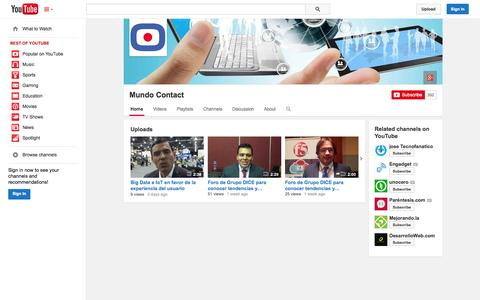 Screenshot of YouTube Page youtube.com - Mundo Contact  - YouTube - captured Oct. 26, 2014