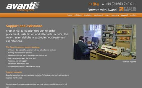 Screenshot of Support Page avanti-conveyors.co.uk - Avanti Conveyors - Conveyor systems - Materials Handling - Avanti Conveyors - captured Feb. 6, 2016
