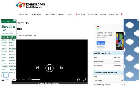Screenshot of Contact Page koimoi.com - Contact Us | Koimoi - captured Nov. 12, 2019