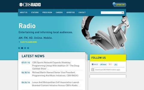 Screenshot of Home Page cbsradio.com - CBS Radio - Established 1928 - captured July 11, 2014