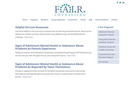 Screenshot of Blog faircounseling.com - Blog - FAIR Counseling - captured Nov. 24, 2016