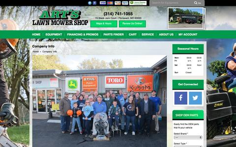 Screenshot of About Page artslawnmowershop.com - Company Info Art's Lawn Mower Shop Florissant, MO (314) 741-1055 - captured Nov. 21, 2016