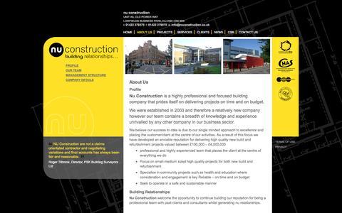 Screenshot of About Page nuconstruction.co.uk - About Us | Profile | Nu Construction Ltd | Elland, West Yorkshire - captured Oct. 26, 2014