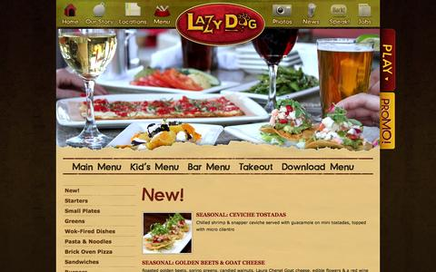 Screenshot of Menu Page lazydogrestaurants.com - Lazy Dog Restaurant & Bar | Menu - captured Sept. 24, 2014