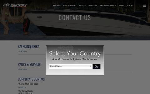 Screenshot of Contact Page montereyboats.com - Contact Information | Monterey Boats - captured July 23, 2019