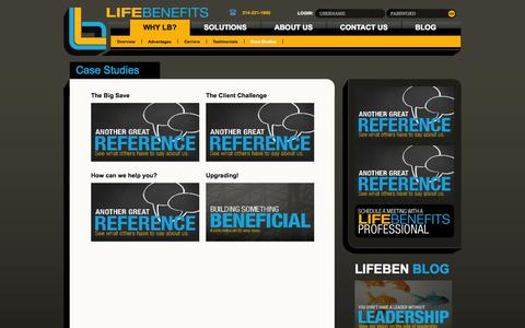Screenshot of Case Studies Page lifeben.com - Life Benefits - captured Oct. 2, 2014