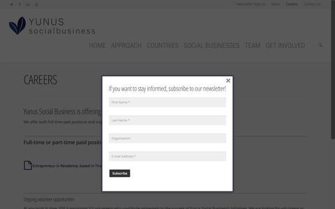 Screenshot of Jobs Page yunussb.com - Careers - Yunus Social Business - captured Nov. 26, 2015