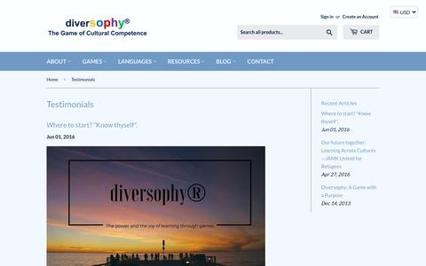 Screenshot of Testimonials Page diversophy.com - Testimonials – diversophy® - captured Sept. 28, 2018