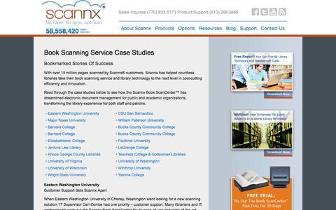 Screenshot of Case Studies Page scannx.com - Book Scanning Service: Case Studies That Tell Stories Of Success - captured Feb. 4, 2016