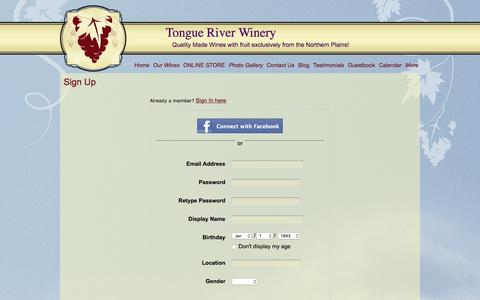 Screenshot of Signup Page tongueriverwinery.com - Signup - captured Feb. 23, 2016
