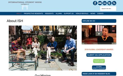 Screenshot of About Page ishdc.org - About ISH - International Student House Washington DC - captured Oct. 12, 2018
