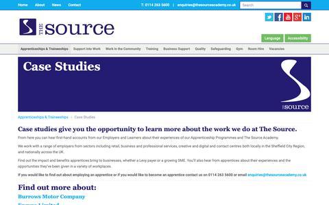 Screenshot of Case Studies Page thesourceacademy.co.uk - Case Studies | The Source - captured Oct. 18, 2018