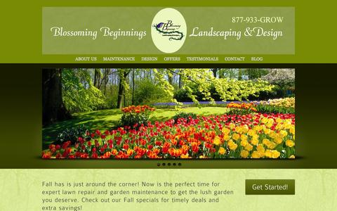 Screenshot of Home Page blossomingb.com - Bergen County Landscape Design, Bergen County Landscape Maintenance, Bergen County Organic Lawn Care, NJ Landscape Design | Blossoming Beginnings - captured Oct. 5, 2014