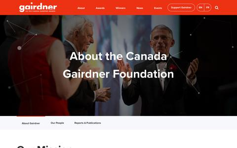 Screenshot of About Page gairdner.org - About Gairdner - Gairdner Foundation - captured Sept. 27, 2018