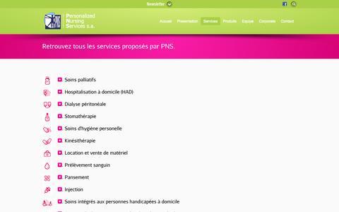 Screenshot of Services Page soinsdomicile.be - Soins à domicile et palliatifs, HAD, dialyse, dialyse péritonéale, stomathérapie, kinésithérapie, prélèvement sanguin, pansement, injection, soins intégrés  | Soins à domicile - captured Oct. 2, 2014