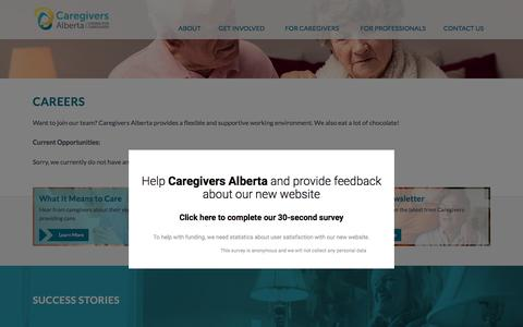 Screenshot of Jobs Page caregiversalberta.ca - Careers – Caregivers Alberta - captured Nov. 20, 2016