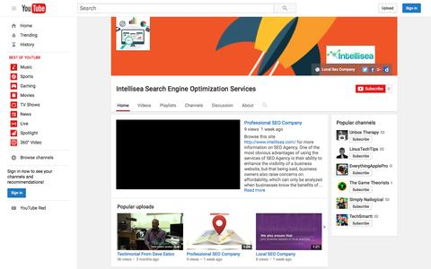 Screenshot of youtube.com - Intellisea Search Engine Optimization Services  - YouTube - captured Sept. 20, 2016