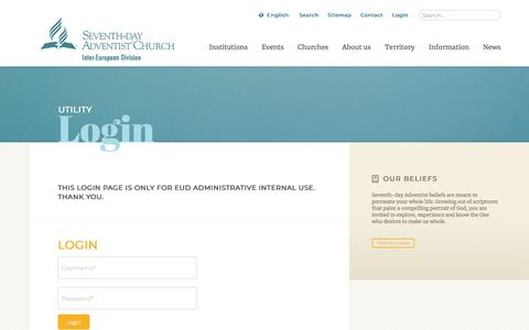 Screenshot of Login Page adventist.org - Login: The Official Site of the Seventh-day Adventist Inter-European Division - captured July 4, 2018