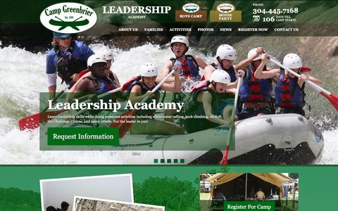 Screenshot of Team Page campgreenbrier.com - Leadership - Camp Greenbrier Boys Camp : Leadership Academy : House Party - captured March 11, 2016
