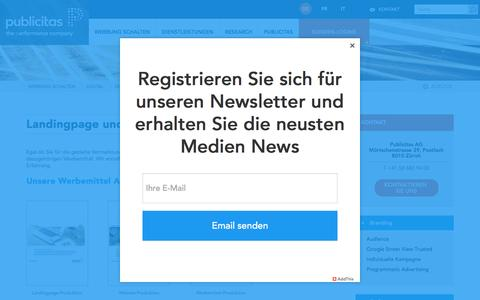 Screenshot of Services Page publicitas.ch - Landingpage und Werbemittel - captured April 4, 2017