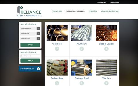 Screenshot of Products Page rsac.com - Reliance Steel & Aluminum Co. - captured Oct. 5, 2014