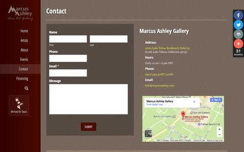 Screenshot of Contact Page marcusashley.com - Contact - Marcus Ashley Gallery - captured March 21, 2017