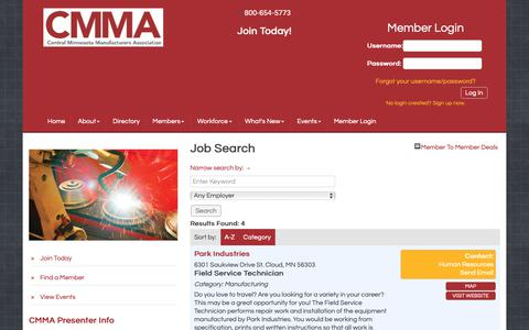 Screenshot of Jobs Page cmmaworks.org - Job Search - Central Minnesota Manufacturers Association - captured Oct. 21, 2018