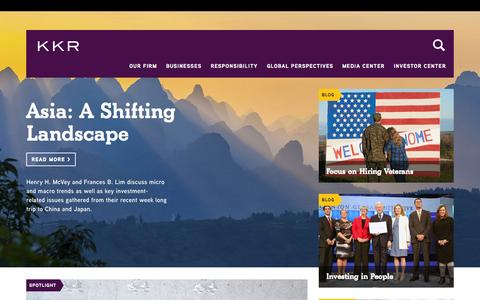 Screenshot of Home Page kkr.com - KKR - captured Oct. 16, 2015