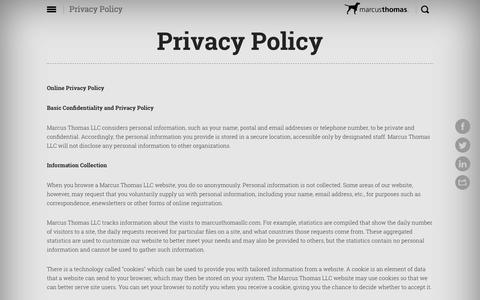 Screenshot of Privacy Page marcusthomasllc.com - Privacy Policy | Marcus Thomas LLC - captured May 17, 2017