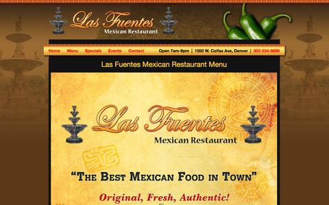 Screenshot of Menu Page mexicanfooddenver.net - Las Fuentes Mexican Restaurant | Authentic Colorado Mexican Food | Breakfast, Lunch & Dinner Menu - captured Oct. 1, 2014